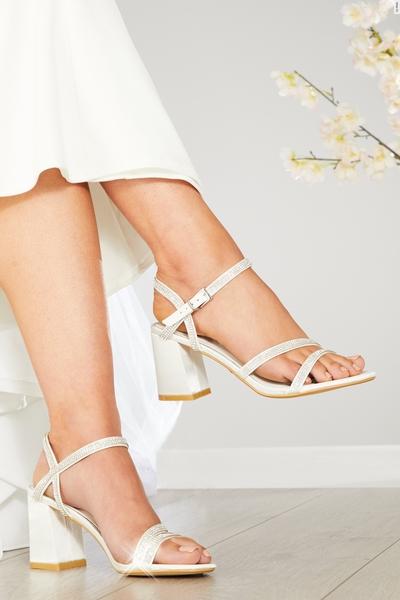 Wide Fit Bridal Diamante Heeled Sandal